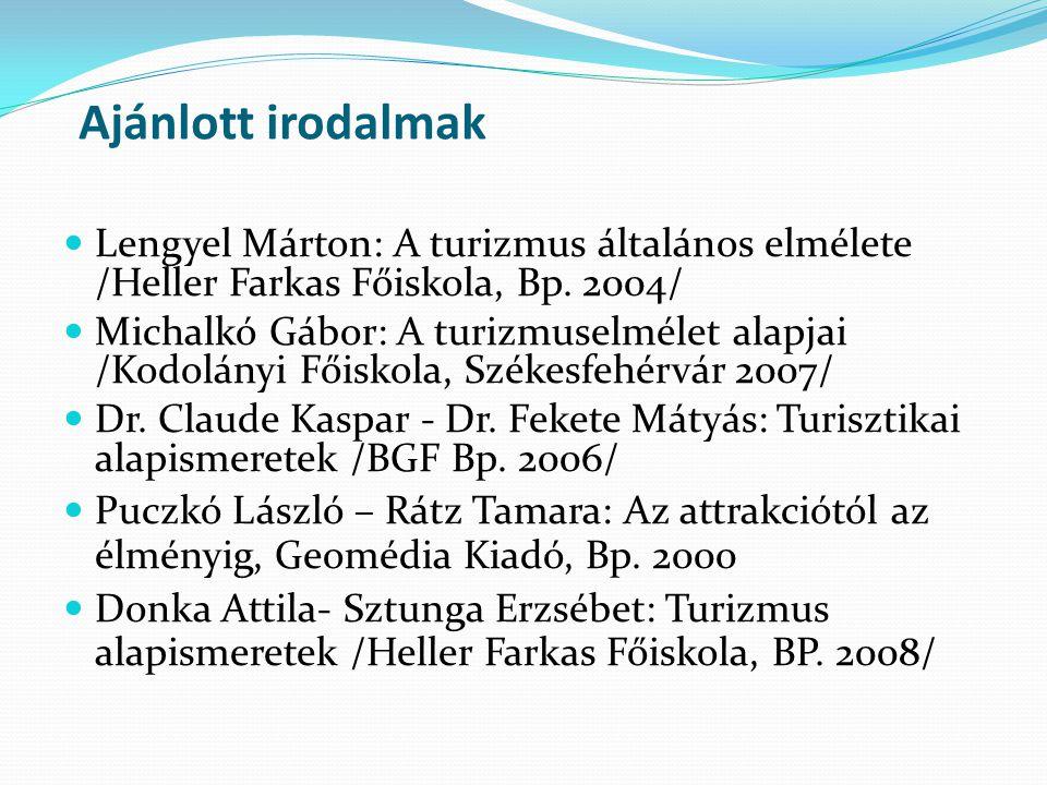 Ajánlott irodalmak Lengyel Márton: A turizmus általános elmélete /Heller Farkas Főiskola, Bp. 2004/ Michalkó Gábor: A turizmuselmélet alapjai /Kodolán