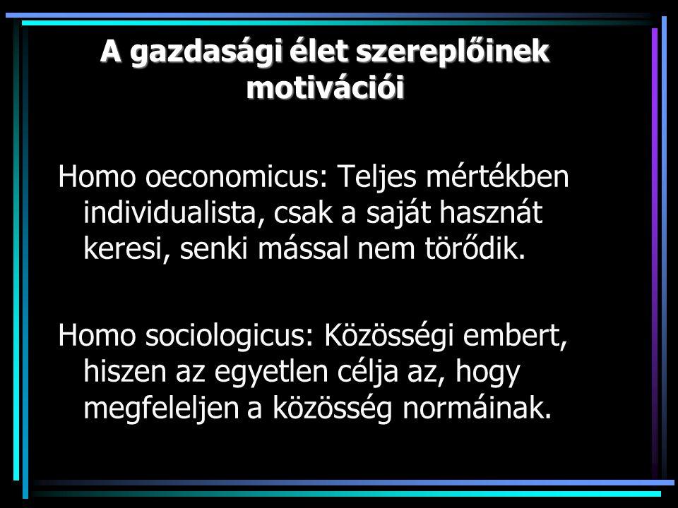 A gazdasági élet szereplőinek motivációi Homo oeconomicus: Teljes mértékben individualista, csak a saját hasznát keresi, senki mással nem törődik.