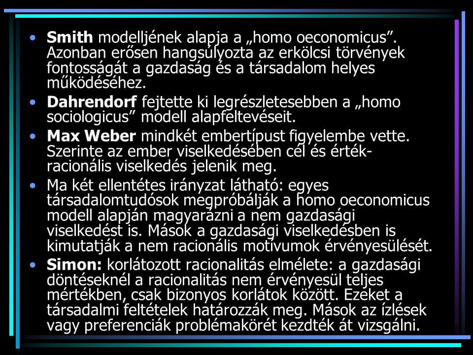"Smith modelljének alapja a ""homo oeconomicus ."