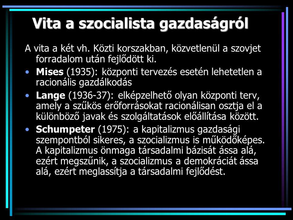 Vita a szocialista gazdaságról A vita a két vh.