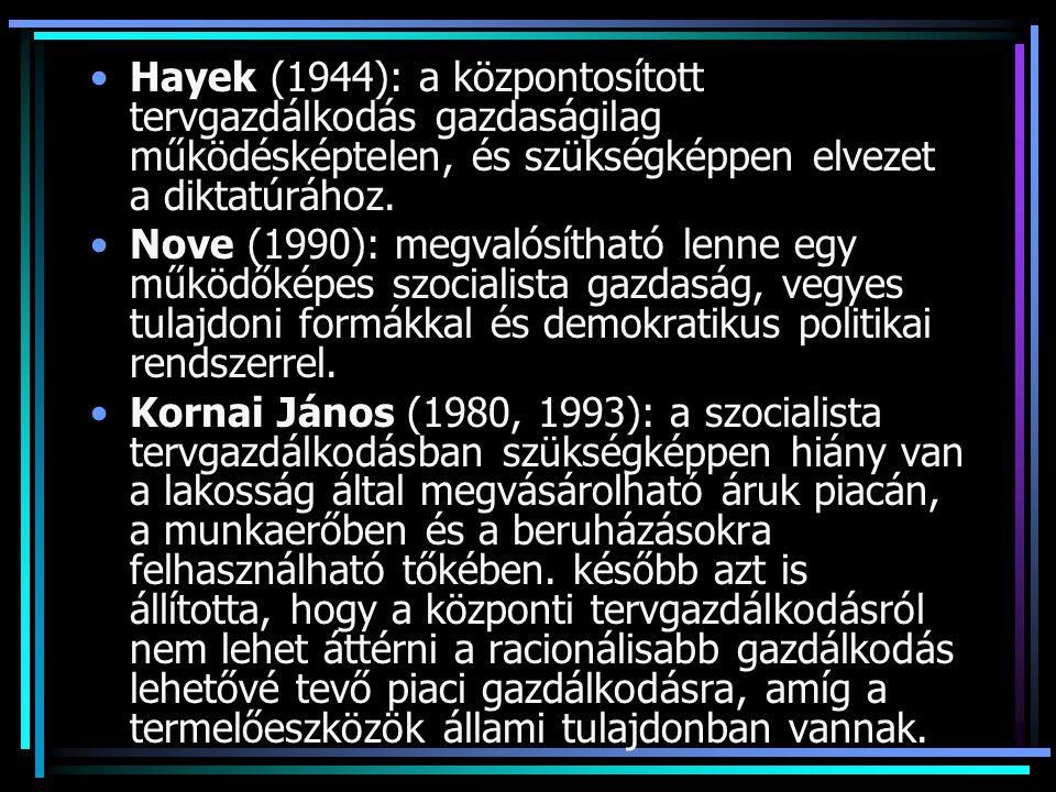 Hayek (1944): a központosított tervgazdálkodás gazdaságilag működésképtelen, és szükségképpen elvezet a diktatúrához.