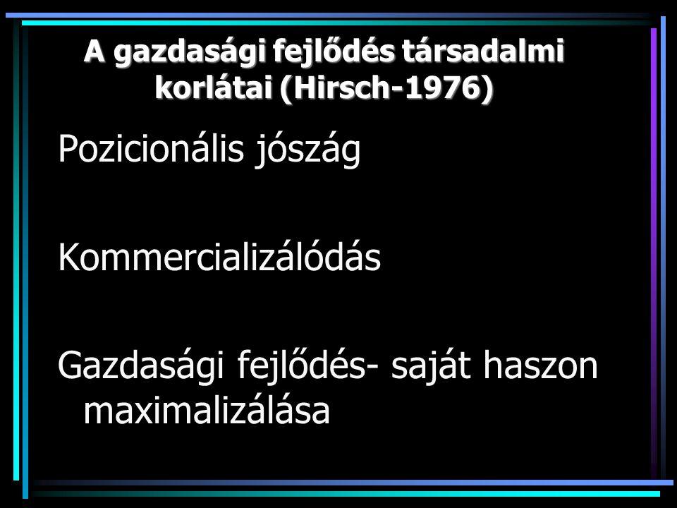 A gazdasági fejlődés társadalmi korlátai (Hirsch-1976) Pozicionális jószág Kommercializálódás Gazdasági fejlődés- saját haszon maximalizálása