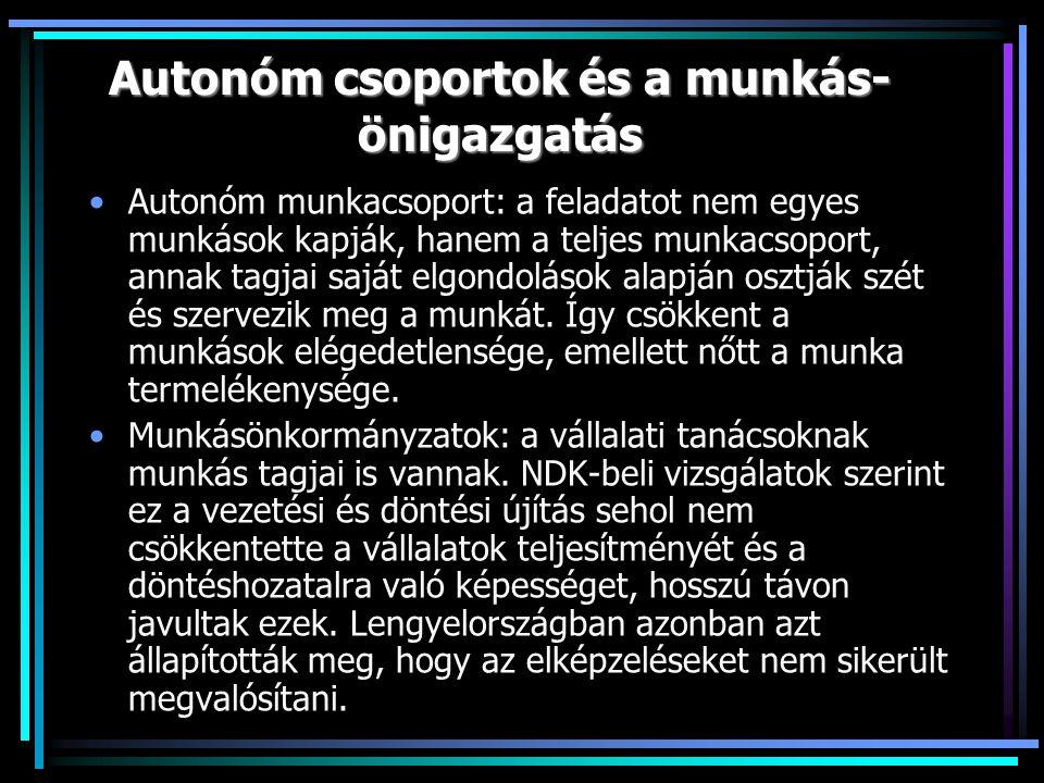 Autonóm csoportok és a munkás- önigazgatás Autonóm munkacsoport: a feladatot nem egyes munkások kapják, hanem a teljes munkacsoport, annak tagjai saját elgondolások alapján osztják szét és szervezik meg a munkát.