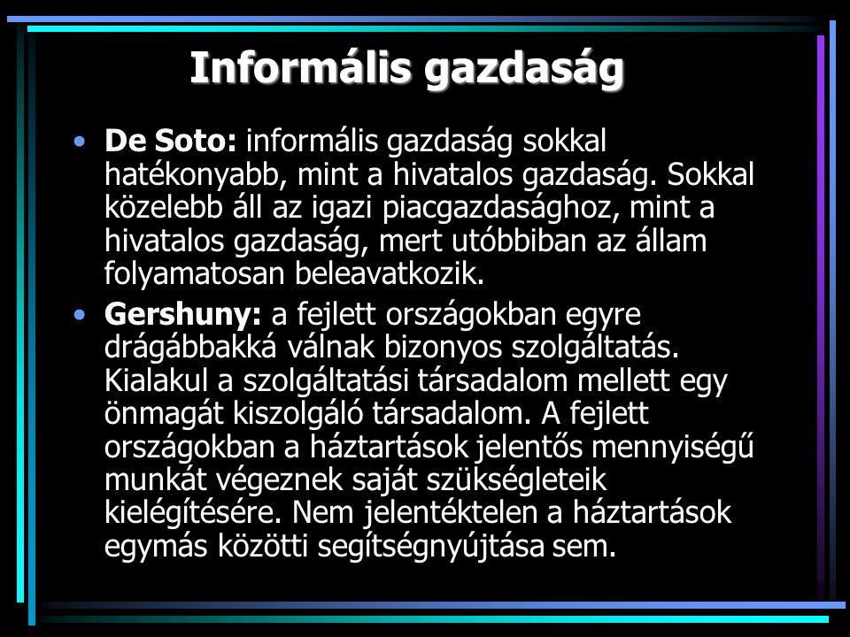 Informális gazdaság De Soto: informális gazdaság sokkal hatékonyabb, mint a hivatalos gazdaság.