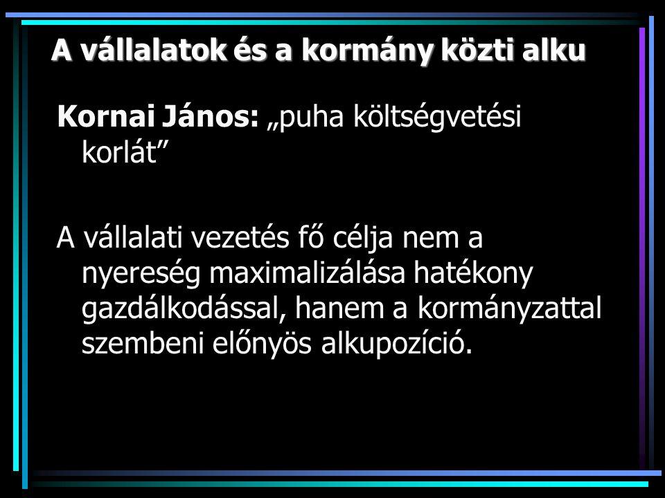 """A vállalatok és a kormány közti alku Kornai János: """"puha költségvetési korlát A vállalati vezetés fő célja nem a nyereség maximalizálása hatékony gazdálkodással, hanem a kormányzattal szembeni előnyös alkupozíció."""