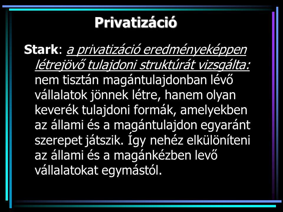 Privatizáció Stark: a privatizáció eredményeképpen létrejövő tulajdoni struktúrát vizsgálta: nem tisztán magántulajdonban lévő vállalatok jönnek létre, hanem olyan keverék tulajdoni formák, amelyekben az állami és a magántulajdon egyaránt szerepet játszik.