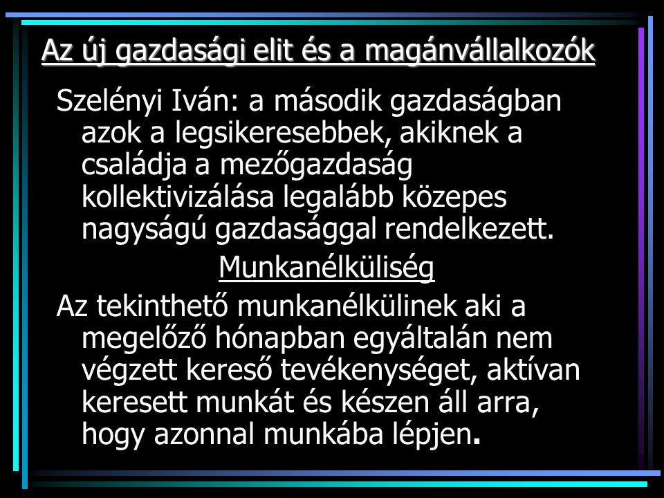 Az új gazdasági elit és a magánvállalkozók Szelényi Iván: a második gazdaságban azok a legsikeresebbek, akiknek a családja a mezőgazdaság kollektivizálása legalább közepes nagyságú gazdasággal rendelkezett.