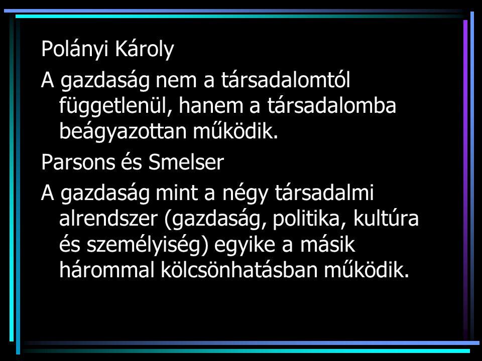 Polányi Károly A gazdaság nem a társadalomtól függetlenül, hanem a társadalomba beágyazottan működik.