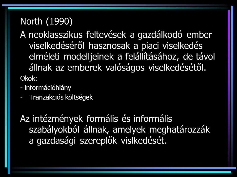 North (1990) A neoklasszikus feltevések a gazdálkodó ember viselkedéséről hasznosak a piaci viselkedés elméleti modelljeinek a felállításához, de távol állnak az emberek valóságos viselkedésétől.