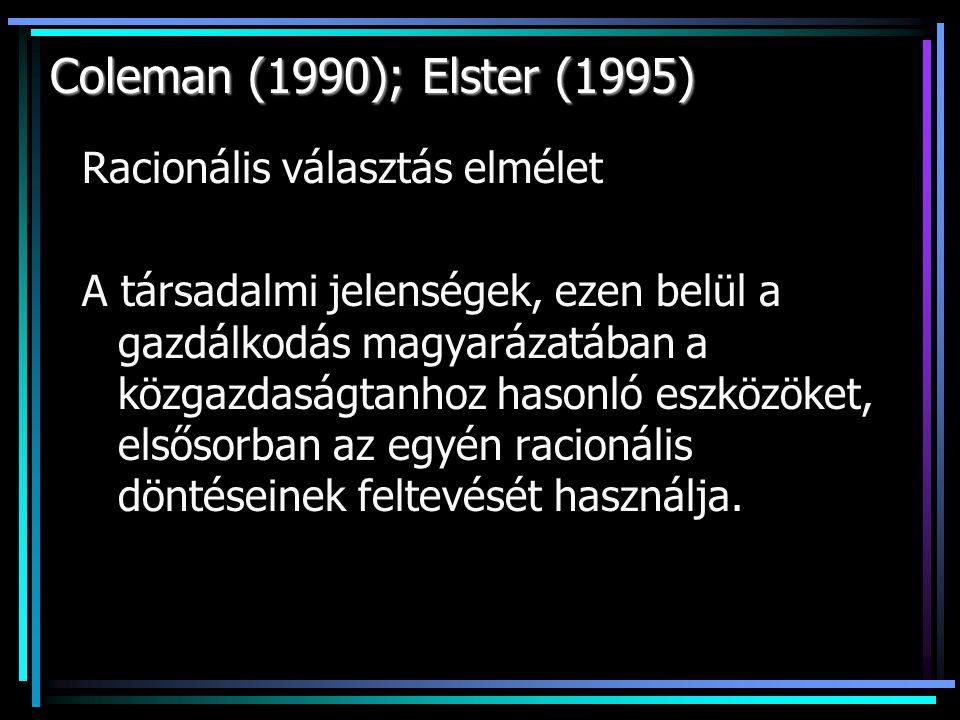 Coleman (1990); Elster (1995) Racionális választás elmélet A társadalmi jelenségek, ezen belül a gazdálkodás magyarázatában a közgazdaságtanhoz hasonló eszközöket, elsősorban az egyén racionális döntéseinek feltevését használja.
