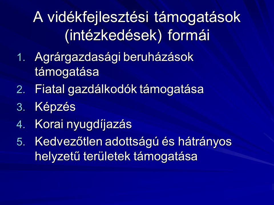 A vidékfejlesztési támogatások (intézkedések) formái 1.