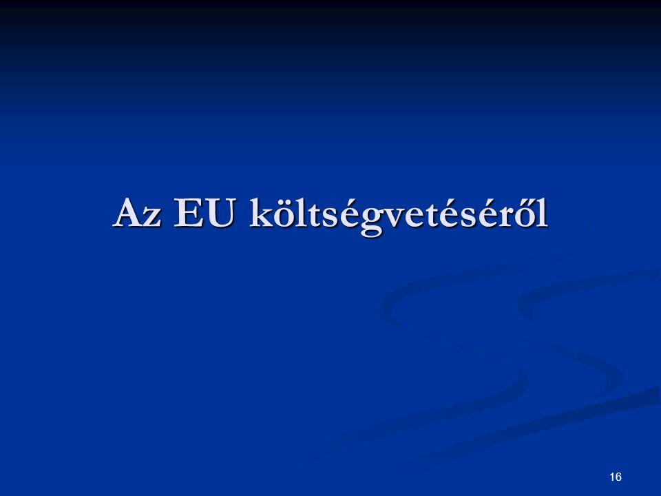 16 Az EU költségvetéséről