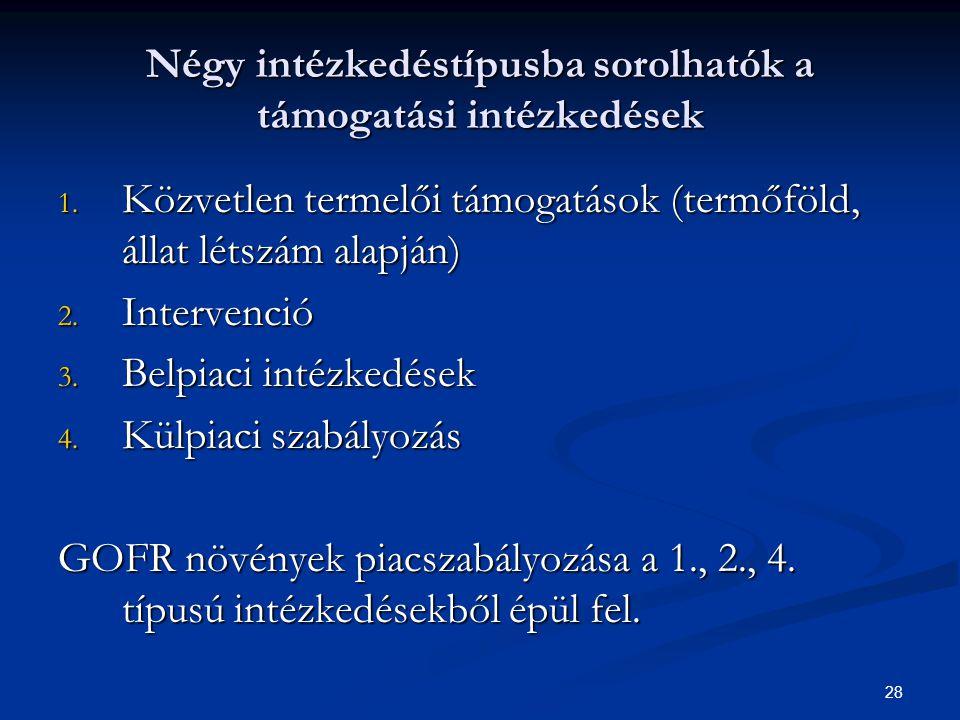 28 Négy intézkedéstípusba sorolhatók a támogatási intézkedések 1.