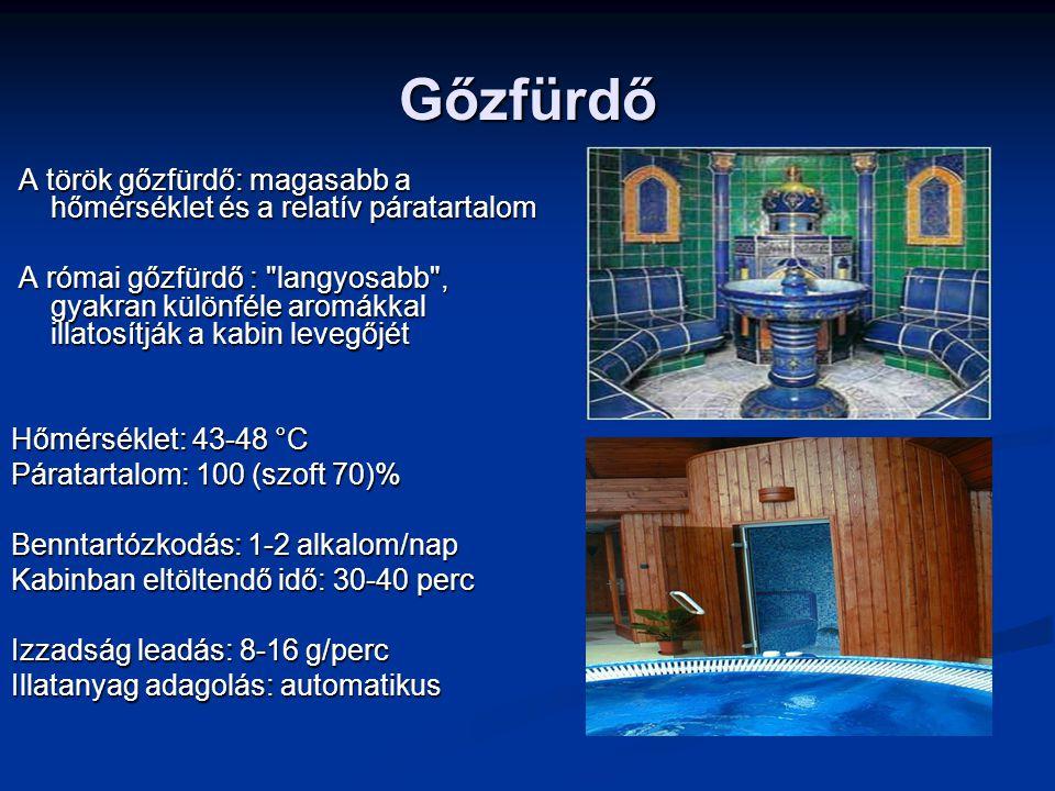 Gőzfürdő A török gőzfürdő: magasabb a hőmérséklet és a relatív páratartalom A török gőzfürdő: magasabb a hőmérséklet és a relatív páratartalom A római