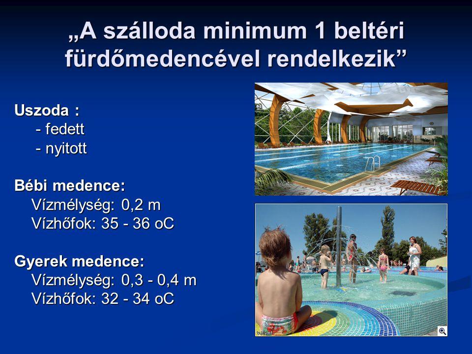 """""""A szálloda minimum 1 beltéri fürdőmedencével rendelkezik"""" Uszoda : - fedett - fedett - nyitott - nyitott Bébi medence: Vízmélység: 0,2 m Vízmélység:"""