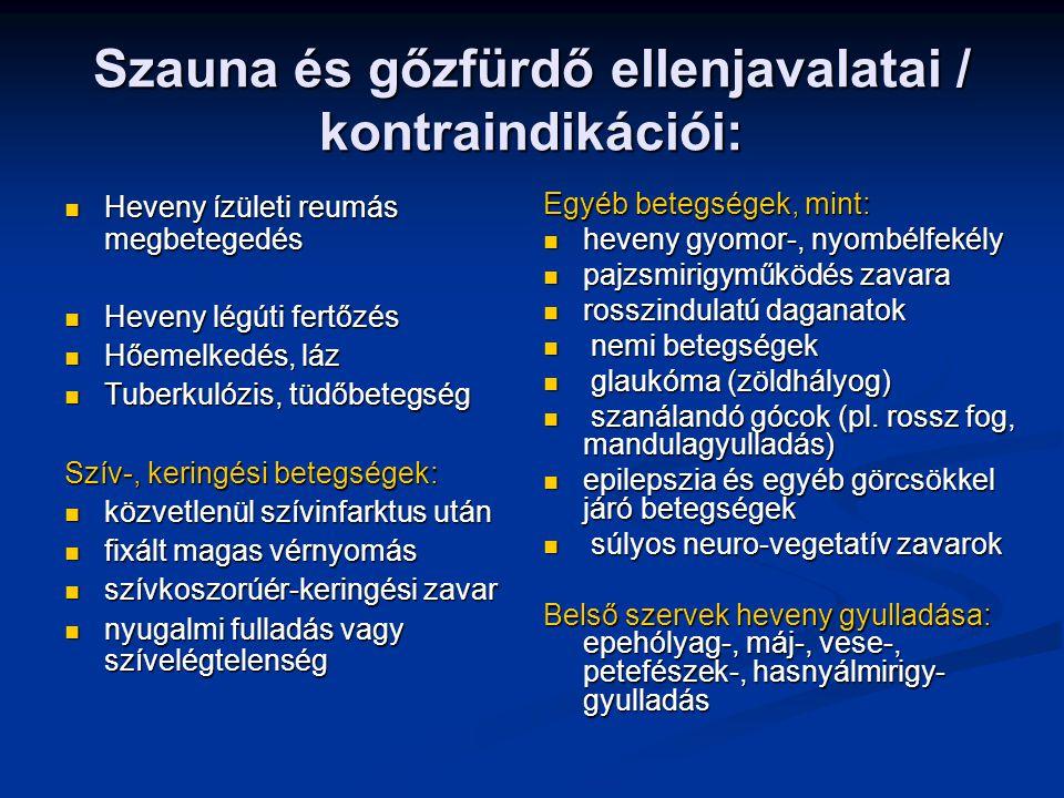 Szauna és gőzfürdő ellenjavalatai / kontraindikációi: Heveny ízületi reumás megbetegedés Heveny ízületi reumás megbetegedés Heveny légúti fertőzés Hev