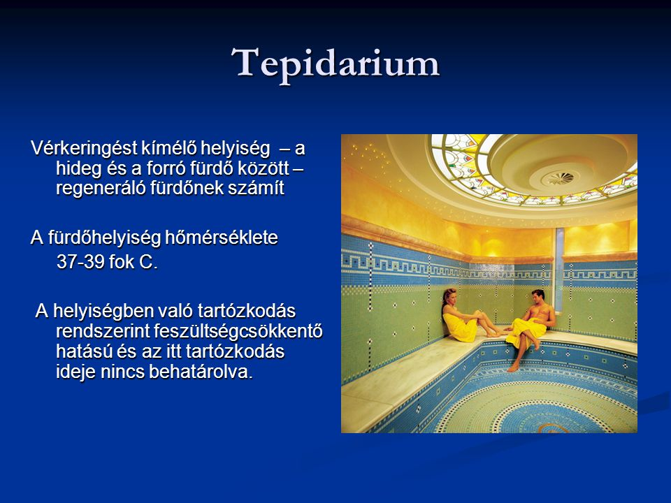 Tepidarium Vérkeringést kímélő helyiség – a hideg és a forró fürdő között – regeneráló fürdőnek számít A fürdőhelyiség hőmérséklete 37-39 fok C. 37-39