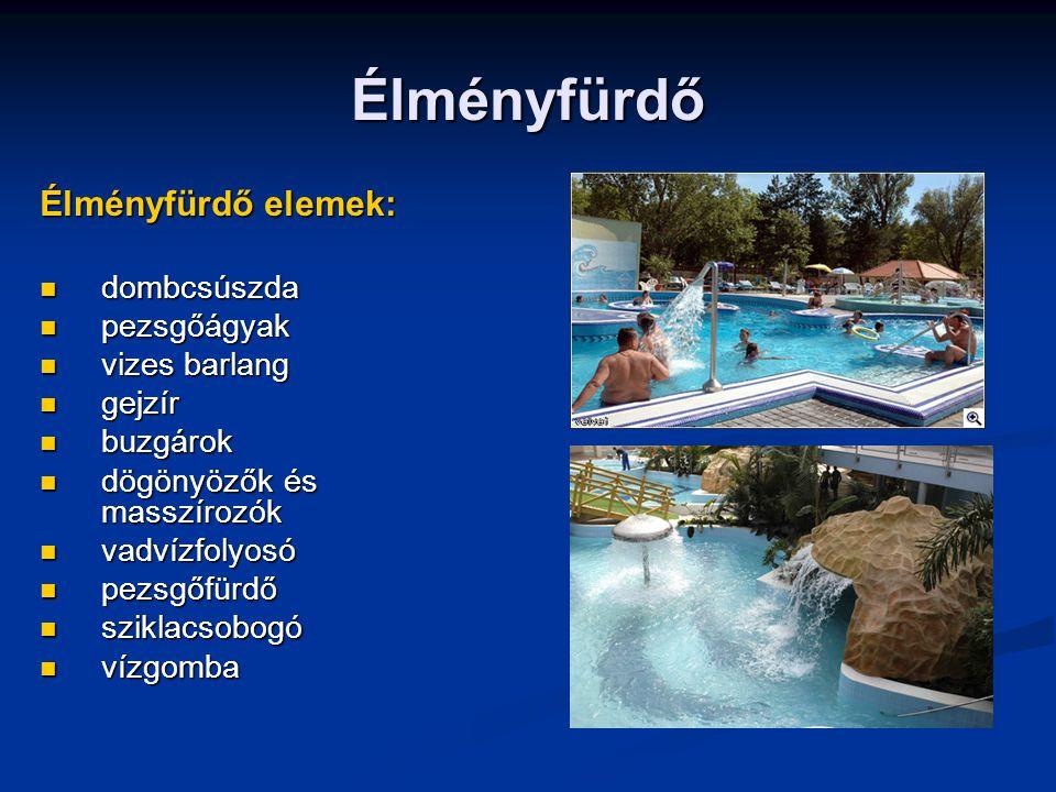 Élményfürdő Élményfürdő elemek: dombcsúszda dombcsúszda pezsgőágyak pezsgőágyak vizes barlang vizes barlang gejzír gejzír buzgárok buzgárok dögönyözők
