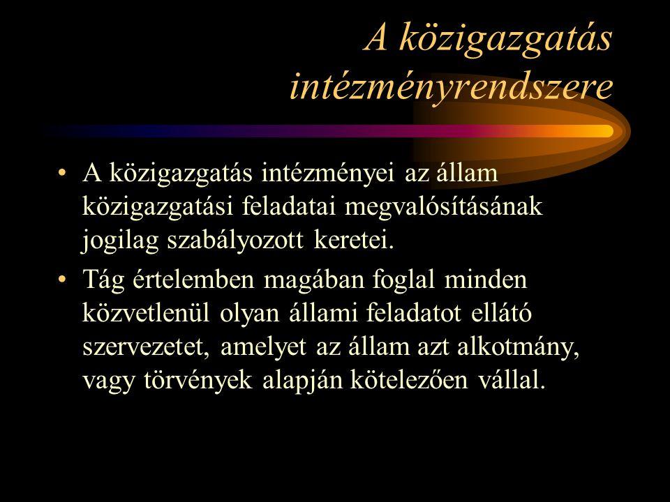 Területi államigazgatási feladatokat ellátó szervek Miniszteri irányítás, vagy felügyelet alatt (példák): –BM: közigazgatási hivatalok –EM: ÁNTSZ –FVM: állat-egészségügyi állomások, földhivatalok, fm hivatalok, területi főépítészek és irodák –GM: Magyar Bányászati Hivatal bányakapitányságai.....
