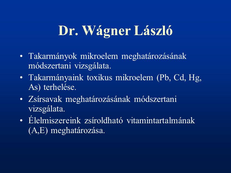 Dr. Wágner László Takarmányok mikroelem meghatározásának módszertani vizsgálata. Takarmányaink toxikus mikroelem (Pb, Cd, Hg, As) terhelése. Zsírsavak