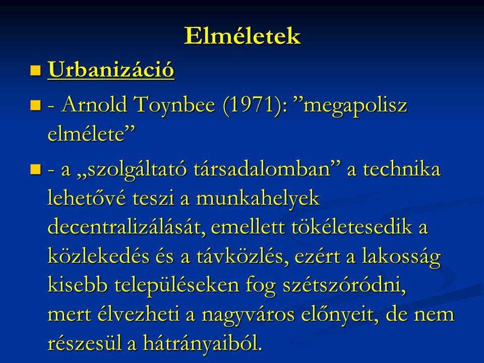 """Elméletek Urbanizáció Urbanizáció - Arnold Toynbee (1971): """"megapolisz elmélete"""" - Arnold Toynbee (1971): """"megapolisz elmélete"""" - a """"szolgáltató társa"""