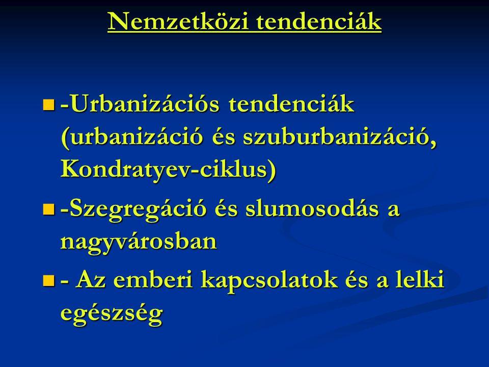 Nemzetközi tendenciák -Urbanizációs tendenciák (urbanizáció és szuburbanizáció, Kondratyev-ciklus) -Urbanizációs tendenciák (urbanizáció és szuburbani