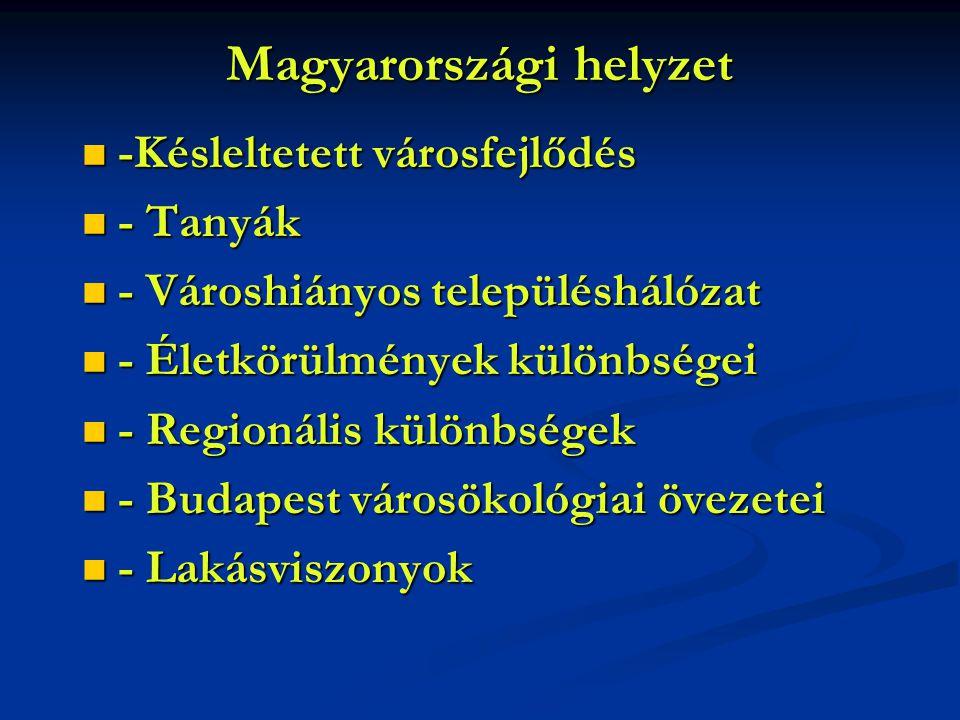 Magyarországi helyzet -Késleltetett városfejlődés -Késleltetett városfejlődés - Tanyák - Tanyák - Városhiányos településhálózat - Városhiányos települ