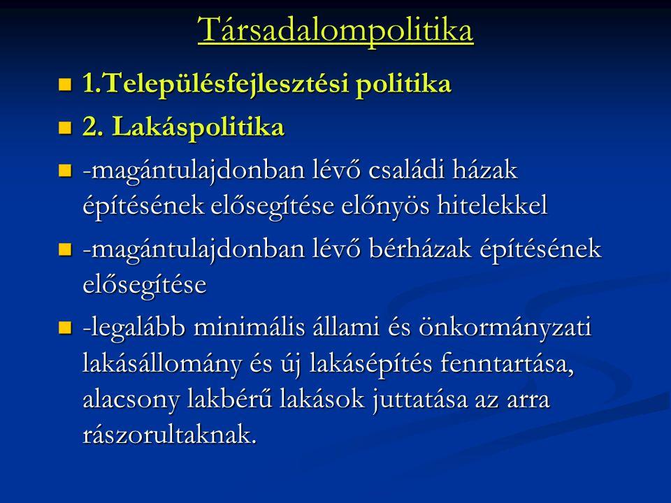 Társadalompolitika 1.Településfejlesztési politika 1.Településfejlesztési politika 2. Lakáspolitika 2. Lakáspolitika -magántulajdonban lévő családi há