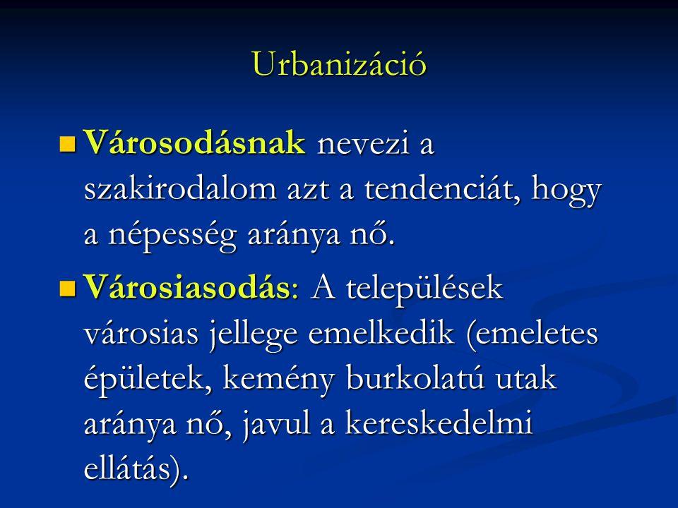 Urbanizáció Városodásnak nevezi a szakirodalom azt a tendenciát, hogy a népesség aránya nő. Városodásnak nevezi a szakirodalom azt a tendenciát, hogy