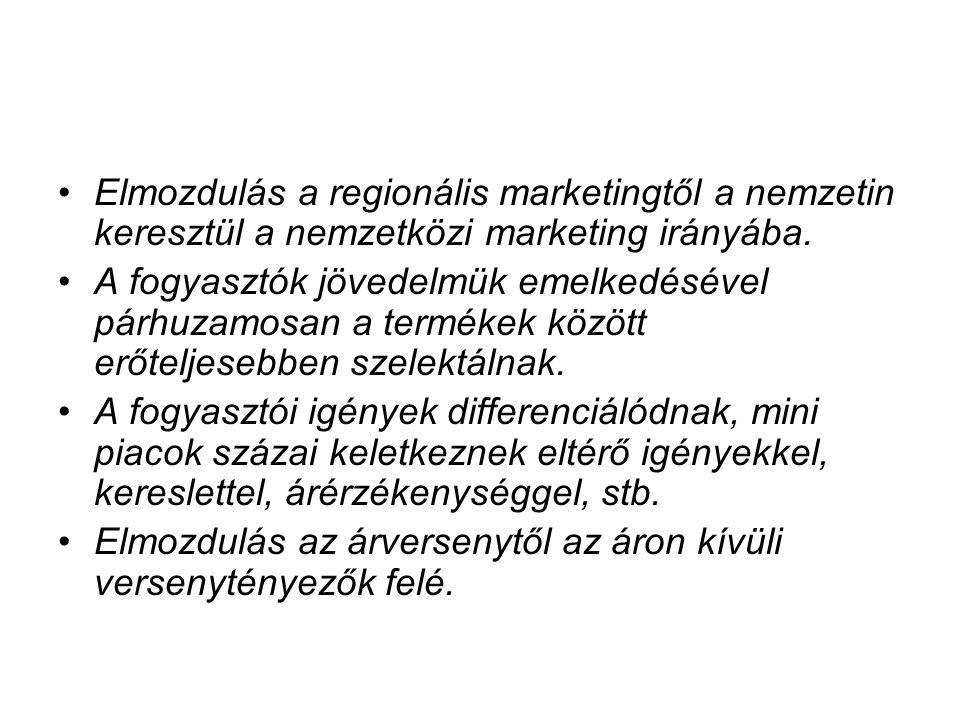 Elmozdulás a regionális marketingtől a nemzetin keresztül a nemzetközi marketing irányába. A fogyasztók jövedelmük emelkedésével párhuzamosan a termék