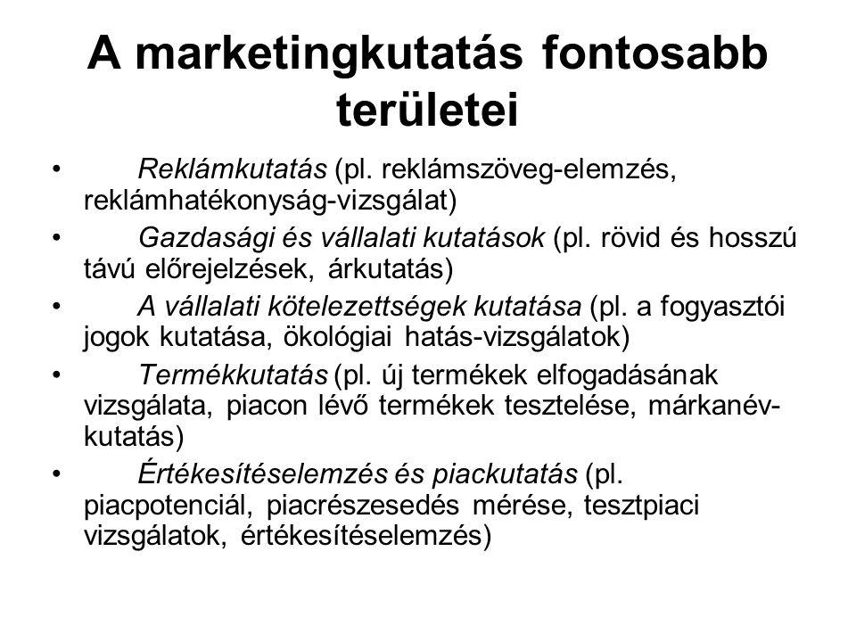 A marketingkutatás fontosabb területei Reklámkutatás (pl. reklámszöveg-elemzés, reklámhatékonyság-vizsgálat) Gazdasági és vállalati kutatások (pl. röv