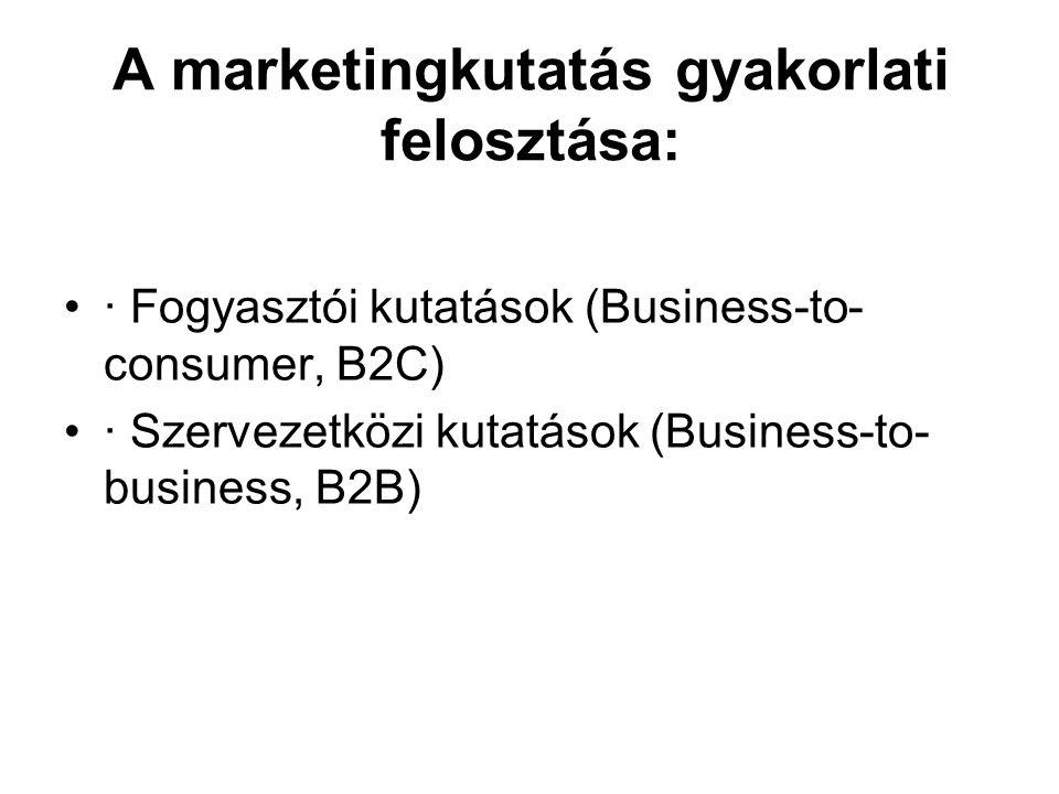 A marketingkutatás gyakorlati felosztása: · Fogyasztói kutatások (Business-to- consumer, B2C) · Szervezetközi kutatások (Business-to- business, B2B)