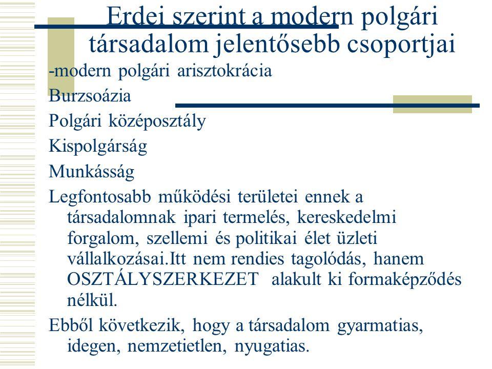 Erdei szerint a modern polgári társadalom jelentősebb csoportjai -modern polgári arisztokrácia Burzsoázia Polgári középosztály Kispolgárság Munkásság