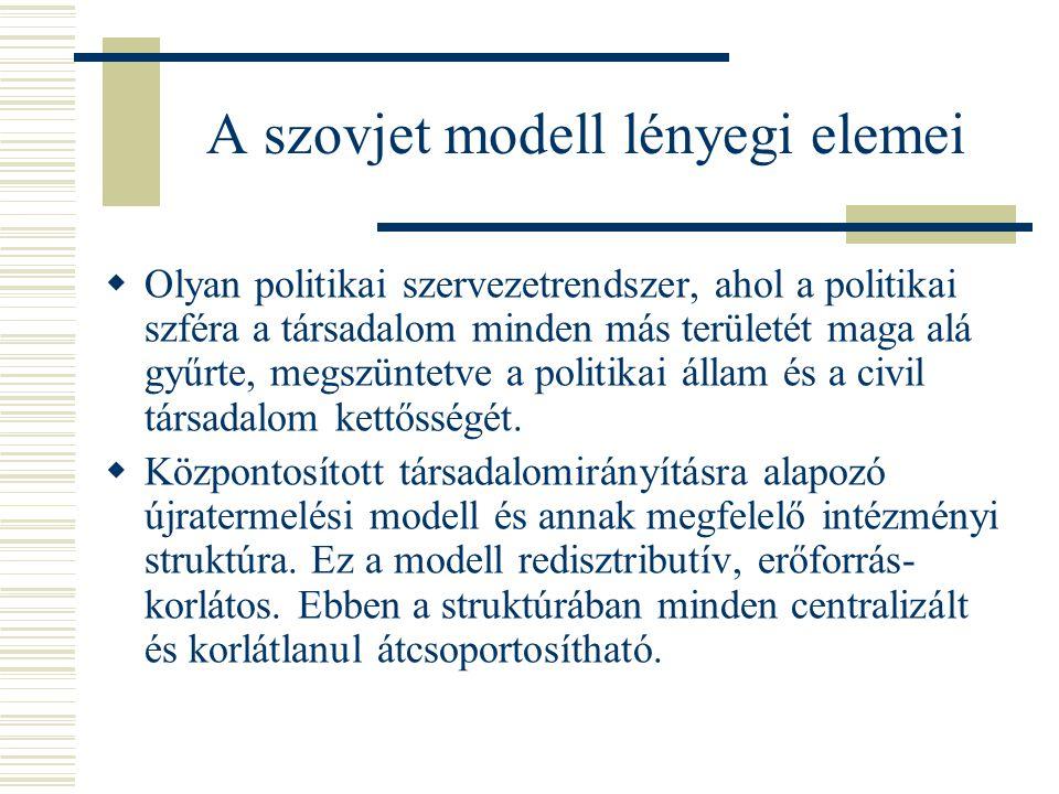 A szovjet modell lényegi elemei  Olyan politikai szervezetrendszer, ahol a politikai szféra a társadalom minden más területét maga alá gyűrte, megszü