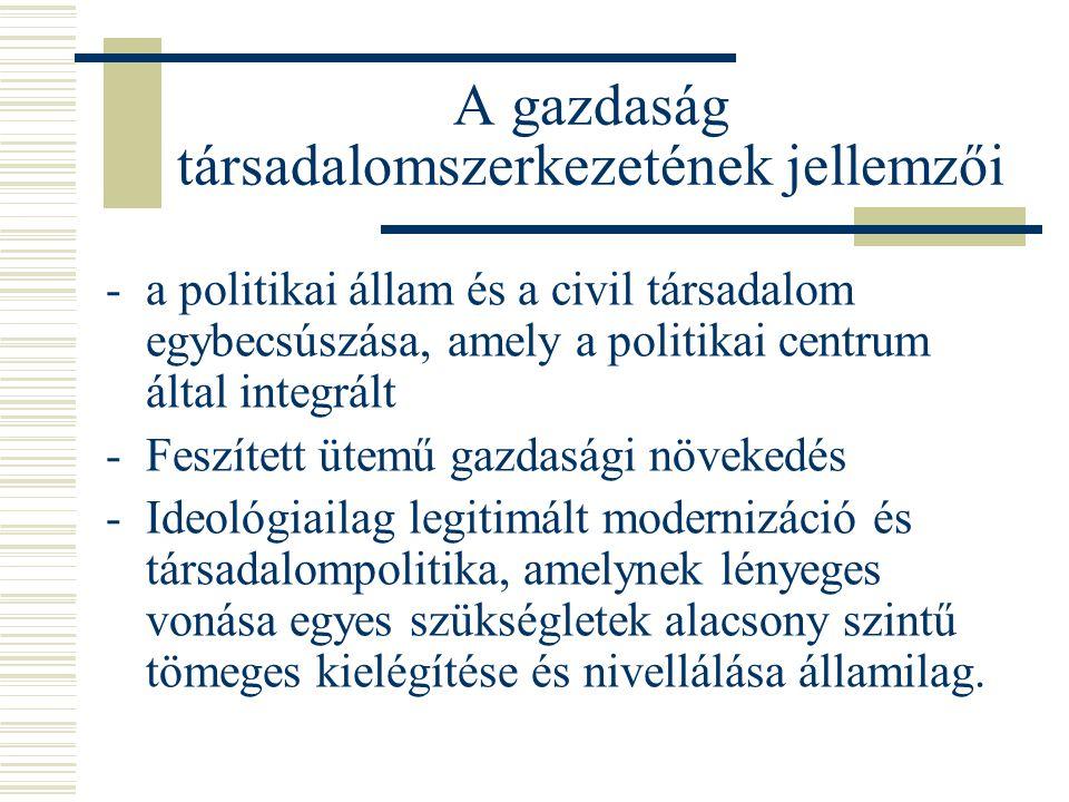 A gazdaság társadalomszerkezetének jellemzői -a politikai állam és a civil társadalom egybecsúszása, amely a politikai centrum által integrált -Feszít