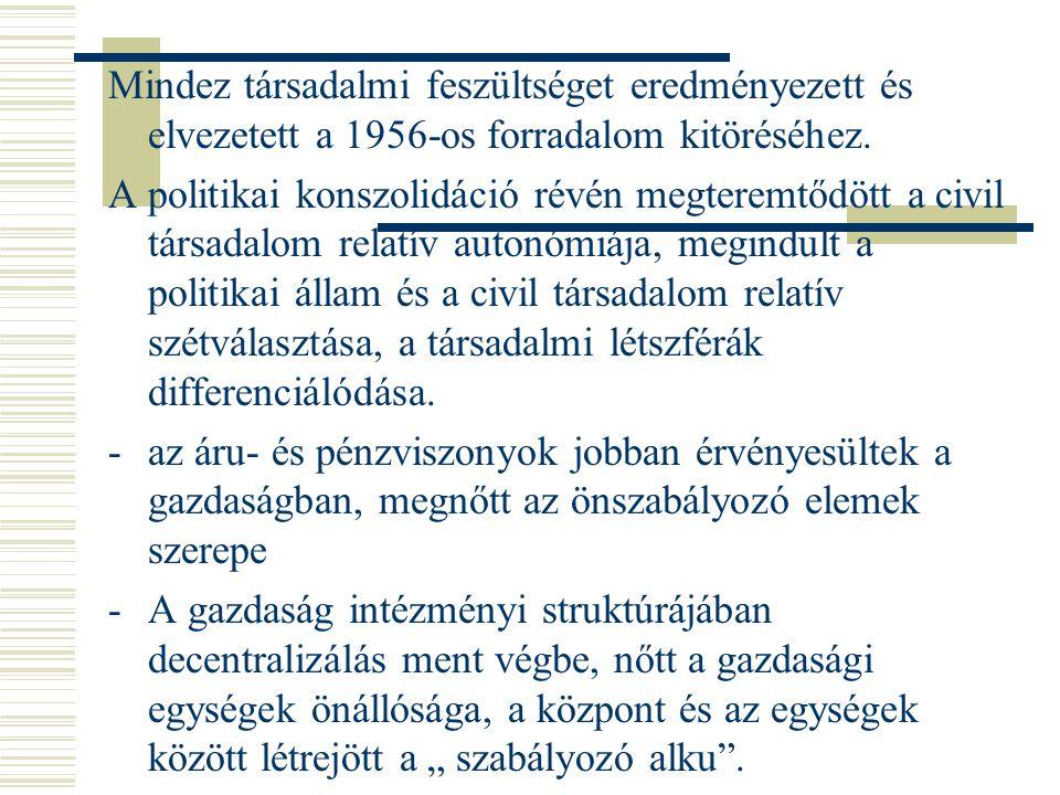 Mindez társadalmi feszültséget eredményezett és elvezetett a 1956-os forradalom kitöréséhez. A politikai konszolidáció révén megteremtődött a civil tá