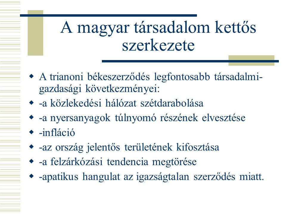 A magyar társadalom kettős szerkezete  A trianoni békeszerződés legfontosabb társadalmi- gazdasági következményei:  -a közlekedési hálózat szétdarab