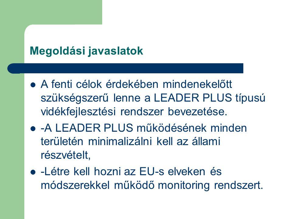 Megoldási javaslatok A fenti célok érdekében mindenekelőtt szükségszerű lenne a LEADER PLUS típusú vidékfejlesztési rendszer bevezetése. -A LEADER PLU
