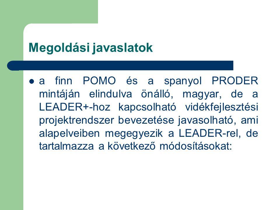 Megoldási javaslatok a finn POMO és a spanyol PRODER mintáján elindulva önálló, magyar, de a LEADER+-hoz kapcsolható vidékfejlesztési projektrendszer