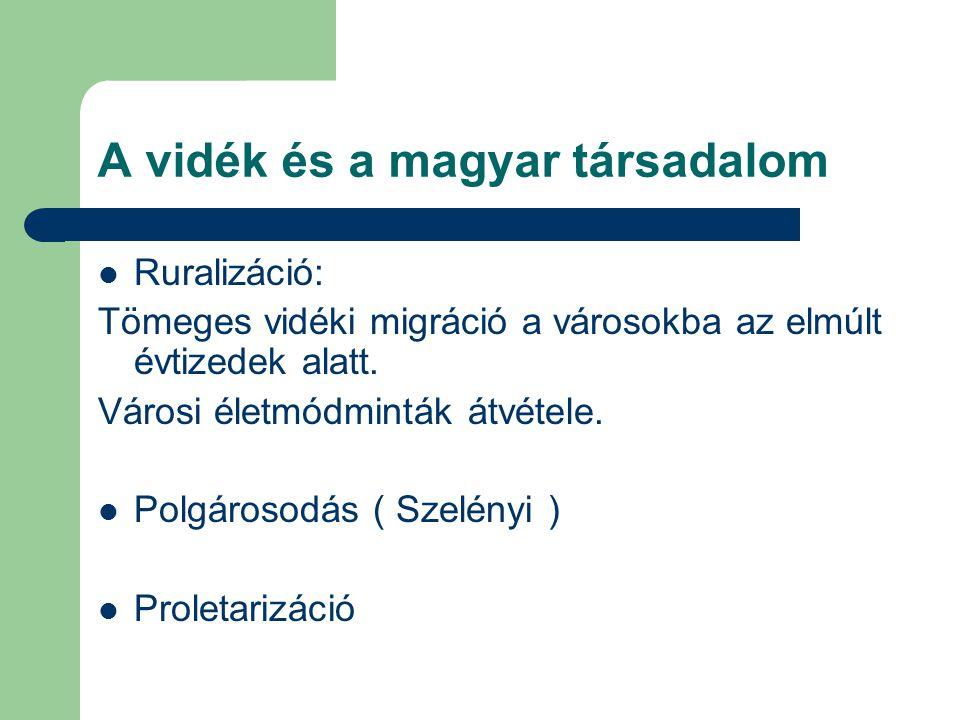 A vidék és a magyar társadalom Ruralizáció: Tömeges vidéki migráció a városokba az elmúlt évtizedek alatt. Városi életmódminták átvétele. Polgárosodás
