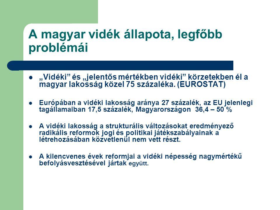 """A magyar vidék állapota, legfőbb problémái """"Vidéki"""" és """"jelentős mértékben vidéki"""" körzetekben él a magyar lakosság közel 75 százaléka. (EUROSTAT) Eur"""
