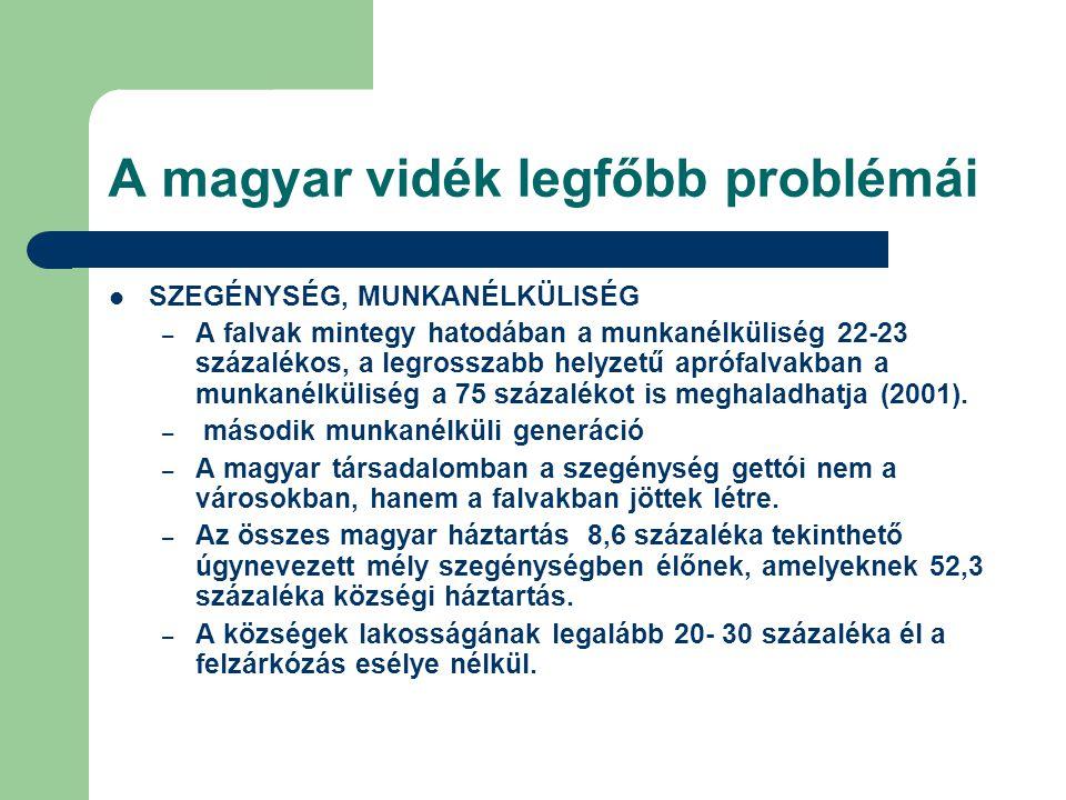 A magyar vidék legfőbb problémái SZEGÉNYSÉG, MUNKANÉLKÜLISÉG – A falvak mintegy hatodában a munkanélküliség 22-23 százalékos, a legrosszabb helyzetű a
