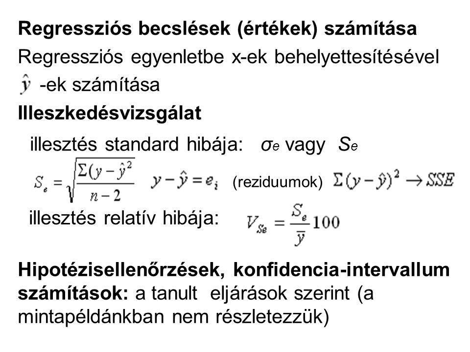 Regressziós becslések (értékek) számítása Regressziós egyenletbe x-ek behelyettesítésével -ek számítása Illeszkedésvizsgálat illesztés standard hibája: σ e vagy S e Hipotézisellenőrzések, konfidencia-intervallum számítások: a tanult eljárások szerint (a mintapéldánkban nem részletezzük) illesztés relatív hibája: (reziduumok)