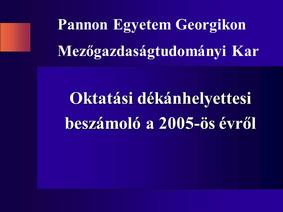 Oktatási dékánhelyettesi beszámoló a 2005-ös évről Pannon Egyetem Georgikon Mezőgazdaságtudományi Kar