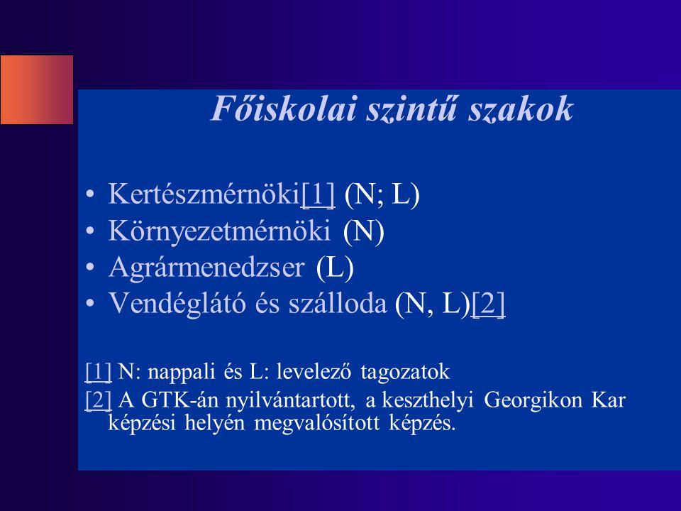 Főiskolai szintű szakok Kertészmérnöki[1] (N; L)[1] Környezetmérnöki (N) Agrármenedzser (L) Vendéglátó és szálloda (N, L)[2][2] [1][1] N: nappali és L: levelező tagozatok [2][2] A GTK-án nyilvántartott, a keszthelyi Georgikon Kar képzési helyén megvalósított képzés.