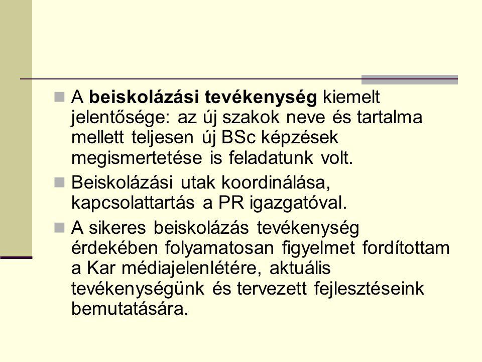 A beiskolázás számokban Egyetemi szervezésben 42 iskola Kari szervezésben 50 iskola 7 nyílt nap Veszprém, Keszthely, Nagykanizsa, Székesfehérvár Educatio szakkiállítás, OMÉK 26 munkatársunk 1 - 11 alkalommal összesen kb.