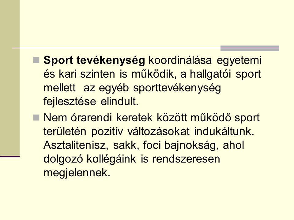 Sport tevékenység koordinálása egyetemi és kari szinten is működik, a hallgatói sport mellett az egyéb sporttevékenység fejlesztése elindult. Nem órar