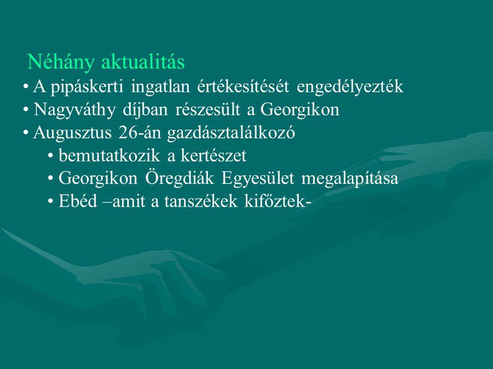 Néhány aktualitás A pipáskerti ingatlan értékesítését engedélyezték Nagyváthy díjban részesült a Georgikon Augusztus 26-án gazdásztalálkozó bemutatkoz