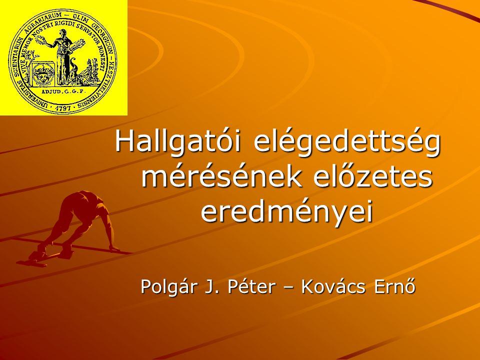 Hallgatói elégedettség mérésének előzetes eredményei Polgár J. Péter – Kovács Ernő