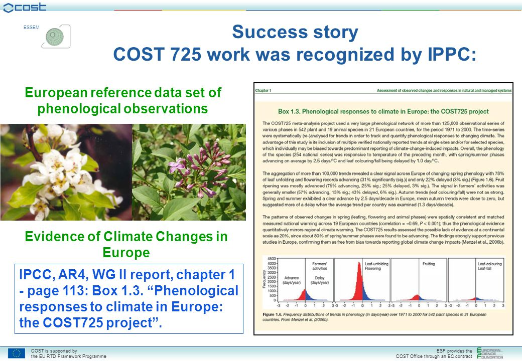 COST is supported by the EU RTD Framework Programme ESF provides the COST Office through an EC contract ESSEM Cause colourful auroras IPCC, AR4, WG II report, chapter 1 - page 113: Box 1.3.